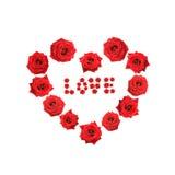 El corazón de la tarjeta del día de San Valentín hizo rosas del ââof con la palabra Imágenes de archivo libres de regalías