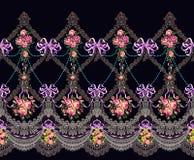 El cordón horizontal de la frontera del modelo de la tela florece la guirnalda Imagenes de archivo