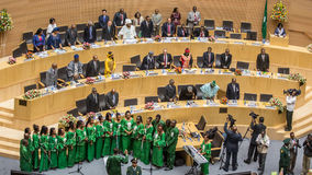 El coro de la unión africana canta en la ceremonia de inauguración del 50.o Ana Fotografía de archivo