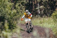 El corredor en una motocicleta monta en una raza de la pista de tierra en bosque Foto de archivo