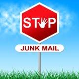 El correo basura de la parada indica Spam del Spamming e indeseado Foto de archivo