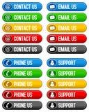El correo electrónico del contacto nos llama por teléfono los botones Imagen de archivo libre de regalías