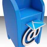 El correo electrónico en la caja del correo electrónico muestra nuevos mensajes ilustración del vector