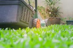 El cortacésped está funcionando en hierba verde en el jardín al aire libre con el fondo de la luz del sol imagen de archivo