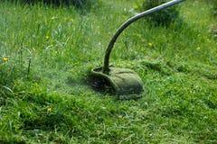 El cortacésped siega la hierba verde y las flores por día foto de archivo libre de regalías