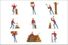 El corte de trabajo de In Checkered Shirt del leñador americano clásico y la madera el tajar con la cuchilla y consideraron stock de ilustración