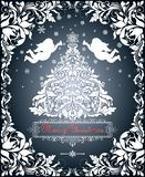 El corte del Libro Blanco del vintage con la Navidad cortó el árbol de abeto, copos de nieve, ángeles y adornó la frontera floral stock de ilustración