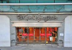 El Corte Ingles. LISBON, PORTUGAL - DECEMBER 20: Entrance of the major El Corte Inges store in Lisbon on december 20, 2013. El Corte Ingles is a global spanish Royalty Free Stock Images