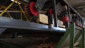 El corte longitudinal de la madera con una circular consider? Interior industrial en una f?brica de carpinter?a proceso de madera almacen de video