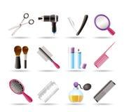 El cosmético, componen y los iconos de la peluquería Fotos de archivo
