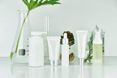 El cosmético y el skincare embotellan los envases con las hojas herbarias verdes, esconden el paquete de la etiqueta para la maqu foto de archivo
