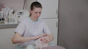El cosmetólogo profesional impone trapos ante la cara de una mujer mayor en la oficina de la cosmetología almacen de metraje de vídeo