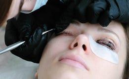 El cosmetólogo quita la pintura de los ojos del cliente con el cepillo laminación del latigazo foto de archivo