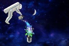 El cosmonauta crece las plantas en energía cósmica pura libre illustration