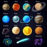 El cosmos protagoniza los iconos de la galaxia de los planetas fijados Foto de archivo libre de regalías