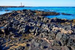 El Cotillo beach Toston lighthouse Fuerteventura Royalty Free Stock Photos