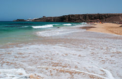 El Cotillo, Fuerteventura, Canary Islands, Spain. View of Piedra Playa beach on August 29, 2016. Piedra Playa, known as El Castillo, is one of the most famous Stock Photos