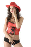 El cowgirl rojo Imágenes de archivo libres de regalías