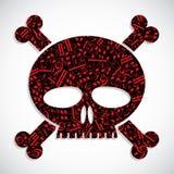 El cráneo colorido decorativo del vector llenado de las notas musicales, guarda Foto de archivo libre de regalías