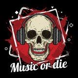 El cráneo con los auriculares, el fondo del grunge y la música del lema o mueren Fotografía de archivo libre de regalías