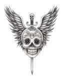 El cráneo del arte se va volando el tatuaje de la espada Imágenes de archivo libres de regalías