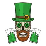 El cráneo del ` s de St Patrick con las hojas verdes del sombrero y del trébol Cráneo irlandés Vector del cráneo de StPatrick Imagenes de archivo