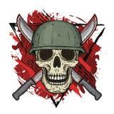 El cráneo en el casco Soldado muerto Foto de archivo libre de regalías