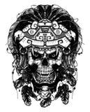 El cráneo en la máscara de Jaguar El guerrero azteca ilustración del vector