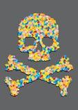 El cráneo hizo ââof una píldora de la cápsula Fotografía de archivo libre de regalías