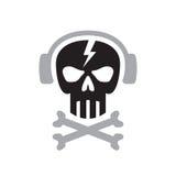 El cráneo humano con los auriculares firma - vector el ejemplo del concepto de la plantilla del logotipo Elemento del diseño stock de ilustración