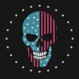 El cráneo le gusta la bandera americana stock de ilustración