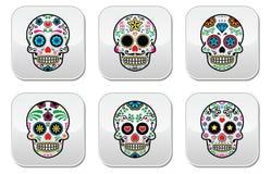 El cráneo mexicano del azúcar, botones de Dia de los Muertos fijó en el fondo blanco stock de ilustración
