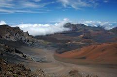 El cráter del volcán de Haleakala. Fotos de archivo