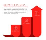 El crecimiento, mejora la flecha del negocio Estafa plana cada vez mayor del vector del gráfico Imagenes de archivo