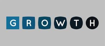El crecimiento pone letras al logotipo, concepto de la transformación Fotos de archivo
