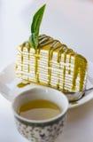 El crepé del té verde caliente y del té verde se apelmaza Foto de archivo libre de regalías