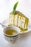 El crepé del té verde caliente y del té verde se apelmaza Imagen de archivo libre de regalías