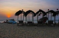 El crepúsculo en la playa de Negombo fotografía de archivo libre de regalías