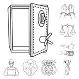 El crimen y el castigo resumen iconos en la colección del sistema para el diseño Ejemplo criminal del web de la acción del símbol libre illustration