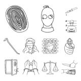 El crimen y el castigo resumen iconos en la colección del sistema para el diseño Ejemplo criminal del web de la acción del símbol stock de ilustración