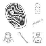 El crimen y el castigo resumen iconos en la colección del sistema para el diseño Ejemplo criminal del web de la acción del símbol ilustración del vector