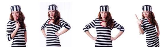 El criminal de convicto en uniforme rayado Fotografía de archivo libre de regalías