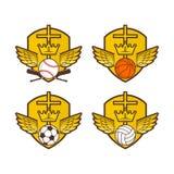 El cristiano se divierte el logotipo Escudo, alas, la cruz de Jesús Fútbol, baloncesto, voleibol y béisbol stock de ilustración