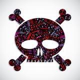 El cráneo colorido decorativo del vector llenado de las notas musicales, guarda Fotos de archivo libres de regalías