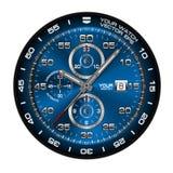 El cronógrafo azul del reloj de la cara de reloj aisló vector del diseño Imagen de archivo libre de regalías