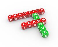 el crucigrama 3d aprende que la práctica mejora Foto de archivo libre de regalías