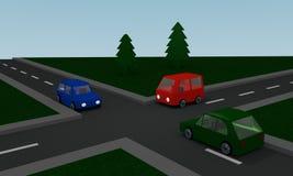 El cruzar con los coches coloreados Imágenes de archivo libres de regalías