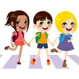 El cruzar feliz de los niños Foto de archivo libre de regalías