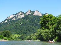 El cruzar rio abajo Dunajec Fotografía de archivo