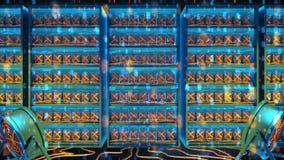El cryptocurrency futurista orientó el lazo moderno azul de la animación de la nube de las palabras almacen de video